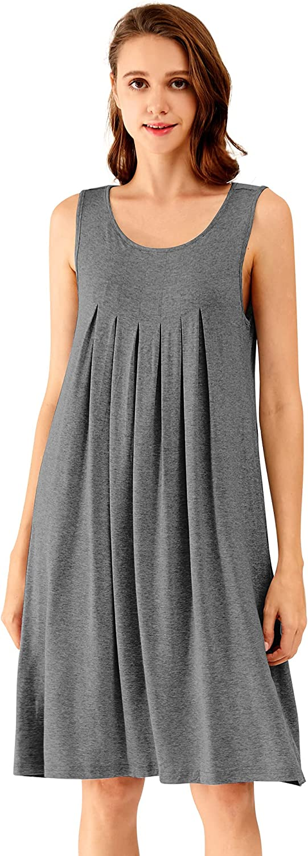 WiWi Bamboo Nightgowns for Women Sleeveless Sleep Shirt Pleated Tank Sleepwear with Side Pockets S-XXL