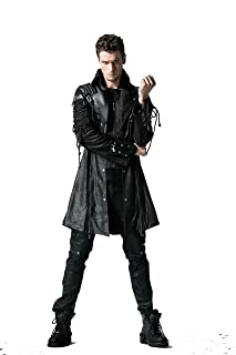 Punk Men's Trench Coat Gothic Bright PU Leather Full Zip Stand Collar Long Jacket Coat Winter Outwear