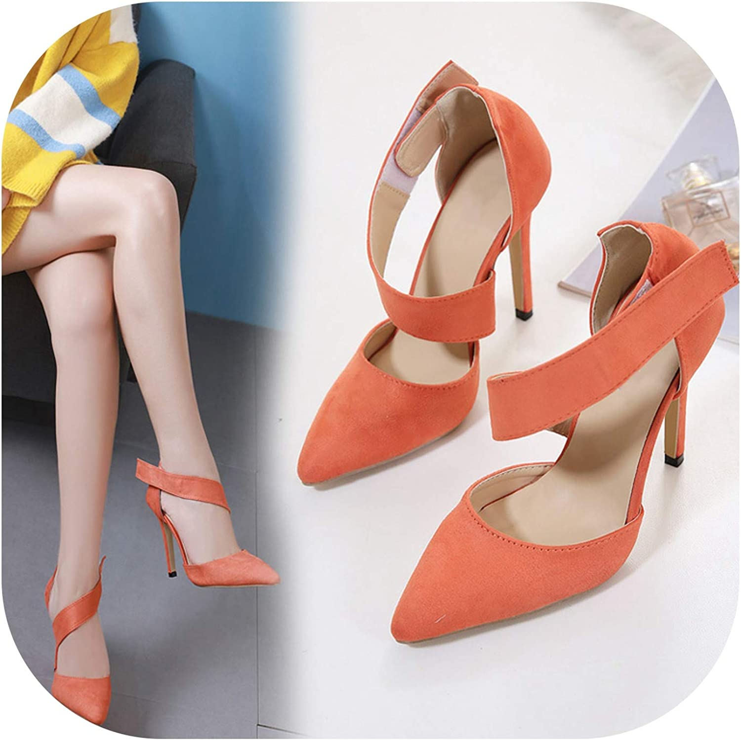 Shine-shine High Heel Sandals Pumps for Women Black orange 12cm