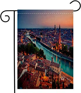 BEIVIVI Creative Home Garden Flag European Verona Italy During Summer Sunset Blue Hour Adige River Medieval Historcal Aqua Coral Green Welcome House Flag for Patio Lawn Outdoor Home Decor