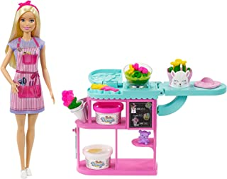 Barbie Florist Playset with 12-in Blonde Doll,...