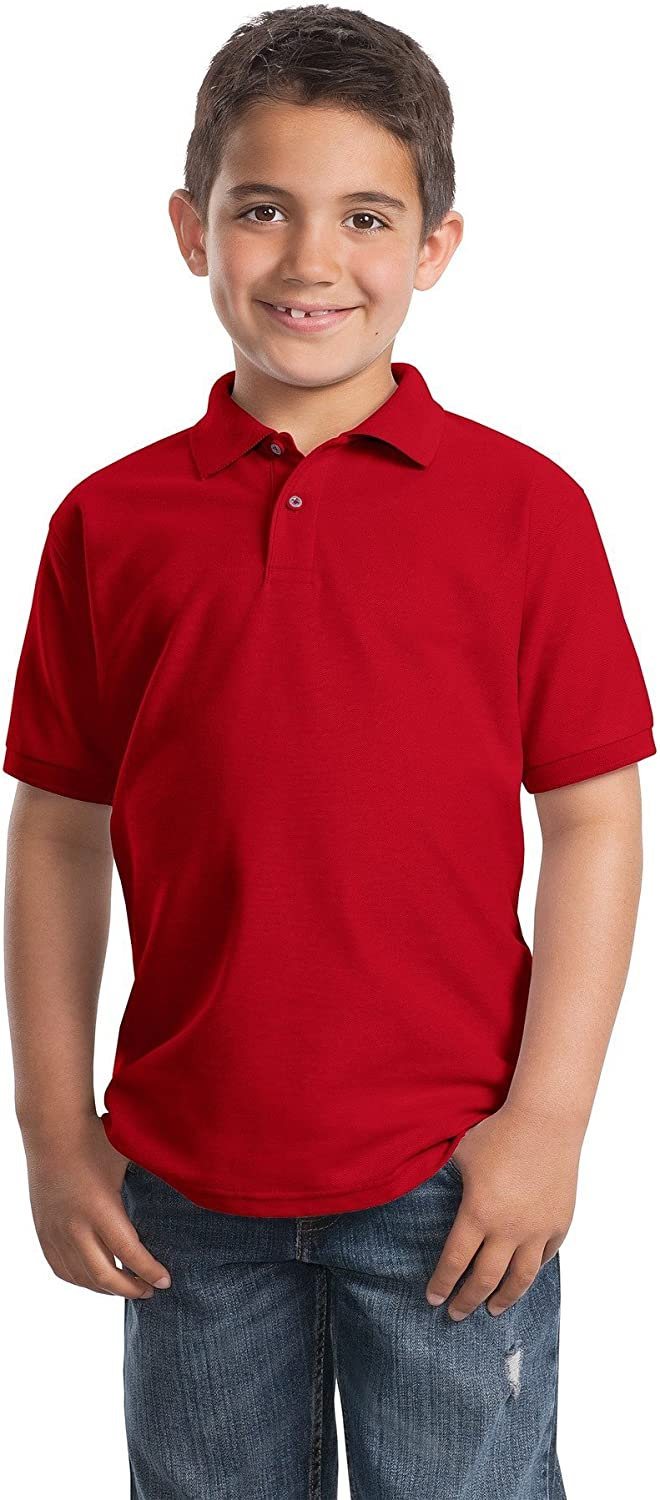 Port Authority Youth Silk Touch Polo. Y500 Red M