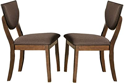 Benjara Transitional Fabric Side Chair with Sloped Open Back,Set of 2, Brown