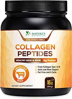 Collagen Peptides Powder Grass-Fed, Non-GMO & Gluten Free, Made is USA, Certified Keto Paleo Friendly - Hydrolyzed Protein Supplement for Skin, Hair, Nails for Men & Women - Unflavored 16oz