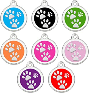 CNATTAGS Stainless Steel Enamel Pet ID Tags Designers Round Paws