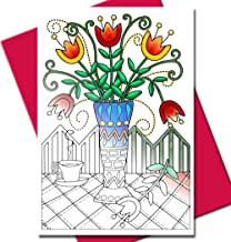 Art Eclect Adult Coloring Flower Greeting Cards for Birthdays and Thank You Note Cards (10 Cards and Fuchsia Envelopes, Set Garden/Fuchsia)