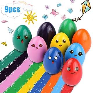 Crayones para Niños Pequeños, 9 Colores Surtidos Crayones Seguro y No Tóxico, Lápices de Pintura Lavables Juguetes, Apilables para Niños y Niñas Regalo de Pascua (Forma Huevo)
