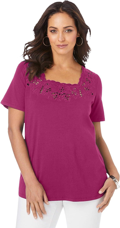 Jessica London Women's Plus Size Eyelet Cutout Tee Short Sleeve T-Shirt