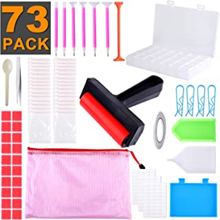 XPCARE 73 Pieces 5D Diamonds Painting Tools Accessories Kits with Diamond Painting Roller and Diamond Box for Adults or Kids