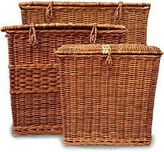 DAISYLIFE Natural Handcrafted Square Woven Wicker Multipurpose Basket Set | Portable and Lightweight | Set of 3
