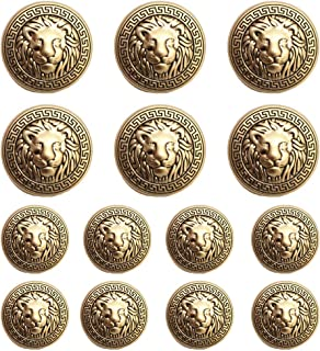 MebuZip 14 Pieces Lion Gold Metal Blazer Button Set 15MM 20MM for Blazers, Suits, Sport Coats, Uniform, Jackets (MBM23)