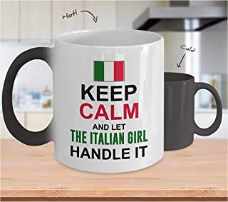 Color Changing Coffee Mug – Let The Italian Girl Handle It Customized Black to White Heat Sensitive Cup with Fun & Cool Designs & Cute Quotes – A Unique Gift for Husband, Wife, Sister, Brother, Family