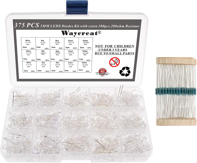 5mm LED Diode Kit Waycreat 375PCS x gift 5 Clear Colors 75pcs Ranking TOP14