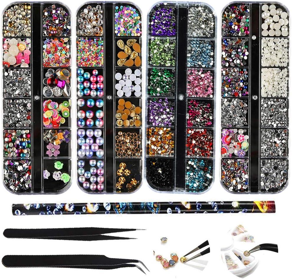 Kit de decoración de uñas(4 Cajas) nail art rhinestone Multi Design Accesorios y Coloridas Caballo Ojo Rhinestones Metal Studs para Uñas DIY Decoración Gemas y 2 pc Pinzas con 1 ceras pluma de punto