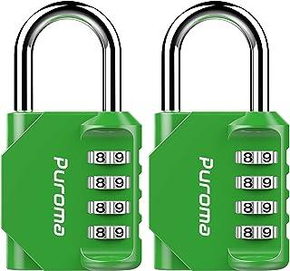 Puroma 2 Pack Combination Lock 4 Digit Padlock for School Gym Locker, Sports Locker, Fence, Toolbox, Case, Hasp Storage, T...