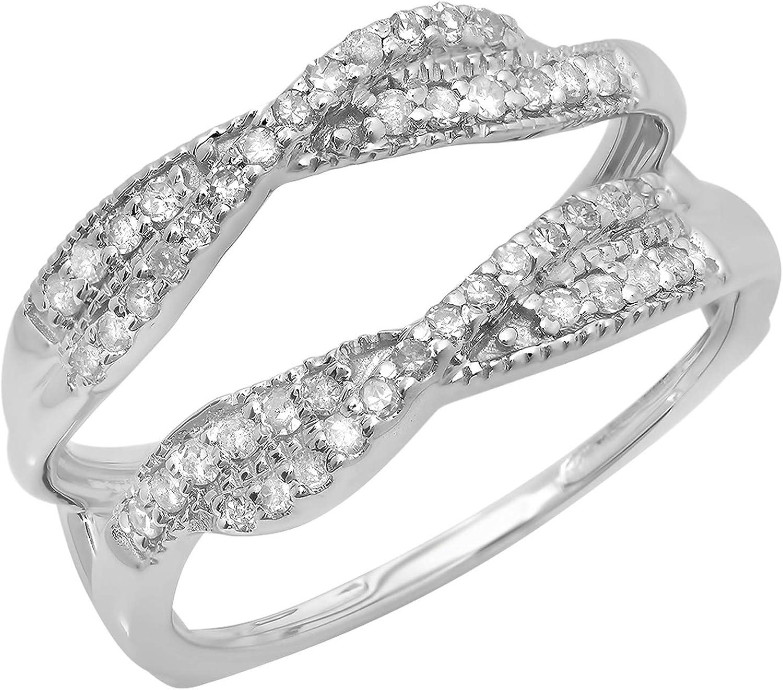 0.40 Carat (ctw) 14K Gold Round Diamond Ladies Anniversary Wedding Band Swirl Enhancer Guard Double Ring