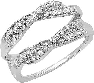 Dazzlingrock Collection 0.40 Carat (ctw) 14K Gold Round Diamond Ladies Anniversary Wedding Band Swirl Enhancer Guard Double Ring