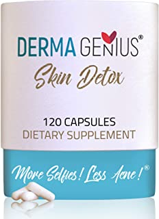 Best Acne Clear Skin Vitamins- Supplements in Adults, Teens, Women, Men: pimples, cysts, blackheads, Whiteheads, Oily Skin - Derma Genius Skin Detox Natural Pills