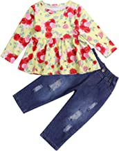 Toddler Girls Clothes 2PCS Ruffle Outfits Long Sleeve Floral Shirt Tops with Ripped Jeans Denim for Girls Pants Sets