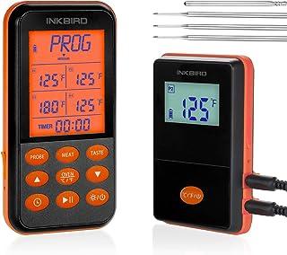 Inkbird IRF-4S trådlös kök matlagning mattermometer för grill ugn rökare BBQ köttermometer med timer, 1 500 fotintervall, ...
