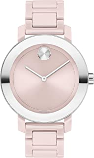 Women's Stainless Steel & Ceramic Swiss Quartz Watch with Ceramic Strap, Blush, 16 (Model: 3600709)