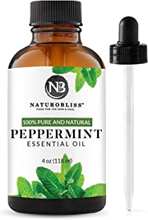 Peppermint Essential Oil, 100% Pure and Natural, Premium Therapeutic Grade peppermint oil, Aromatherapy essential Oil, 4 fl. oz. essential oil by NaturoBliss, with glass dropper