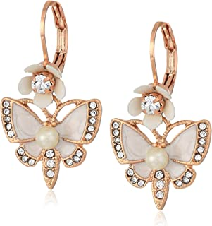 Women's Rose Gold and White Butterfly Drop Earrings