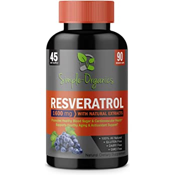 Resveratrol 1600mg per serving of Organic Trans-Resveratrol & Potent Antioxidants, Pure Extra Strength Complex, Anti-Aging, Radiant Skin, Blood Sugar and Immunity Support- 45 Day Supply