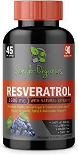 Resveratrol 1600mg per Serving- 100% Organic, Pure Extra Strength Complex with Organic Trans-Resveratrol - Anti-Aging, Radiant Skin, Blood Sugar and Immunity Support- 30 Day Supply