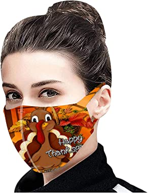 【Shipping from US!!!】 5/10/25PCS Thanksgiving Face_Mask for Adults Reusable Washable Face Bandanas,Cotton Cute Turkey Print D