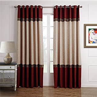 Dreaming Casa 1 Panel Grommet Top Solid Polyester Window Curtain Treatment Beige&Burgundy Two Tone 52