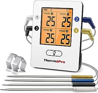 ThermoPro TP25 Thermomètre à Viande Sans Fil Bluetooth Numérique Thermomètre pour Cuisson au Four avec 4 Sondes de Tempéra...