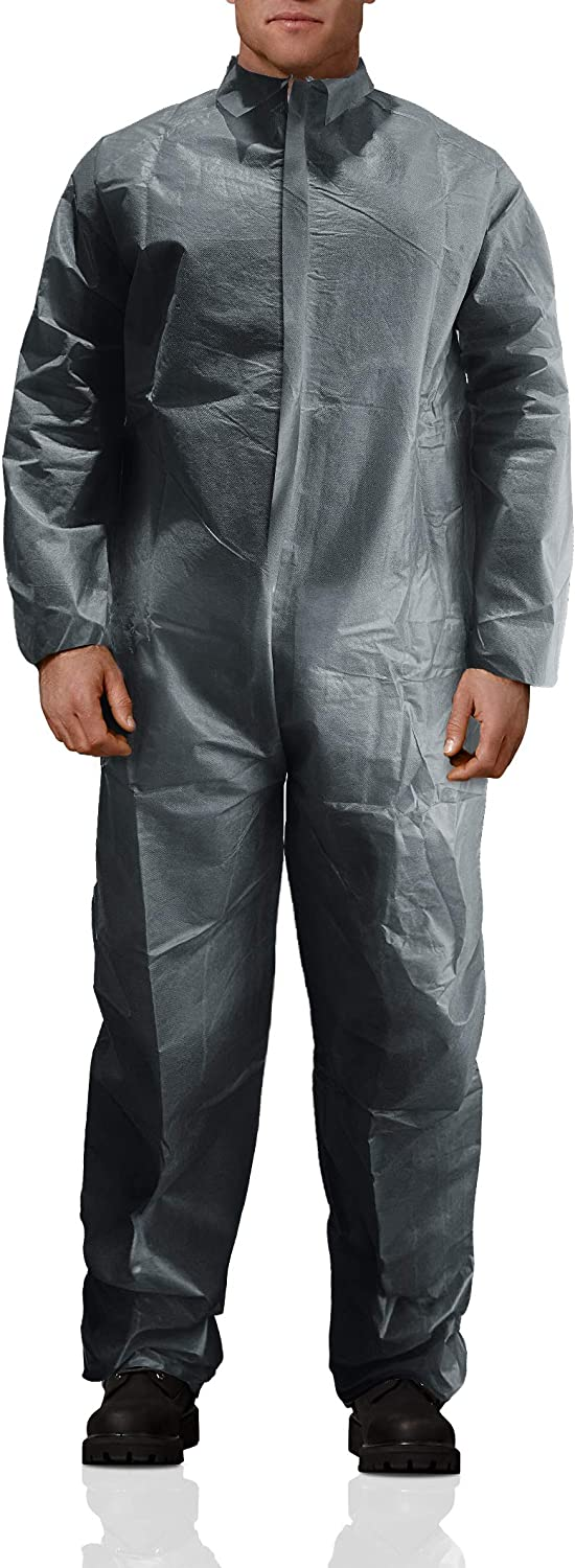 AMZ Basic Protection Coverall Gray Adult Disposable Coverall 100% Virgin Polypropylene Large Size Fabric Apparel with Zipper Front Entry and Elastic Wrists Unisex Workwear for Industrial Applications: Tools & Home Improvement