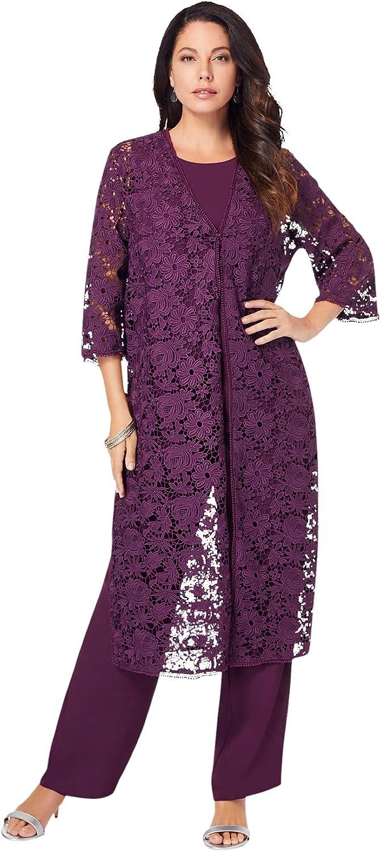Roamans Women's Plus Size Three-Piece Lace Duster & Pant Suit Duster, Tank, Formal Evening Wide Leg Trousers