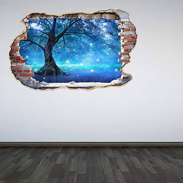 Full Colour Mystical Fairy Tree Smashed Wall 3D Effect Under The Sea Aquarium Ocean Bedroom Wall Sticker Decal Kids Bedr