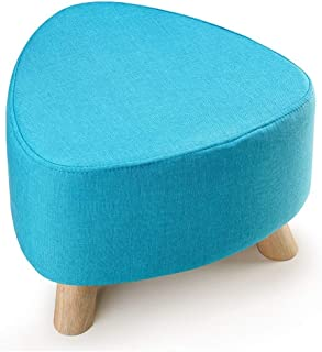 Small Stool Stools Sofa Stool Solid Wood Small Three-Legged Stool Removable Change Shoe Stool (Color : Blue, Size : 393928CM)