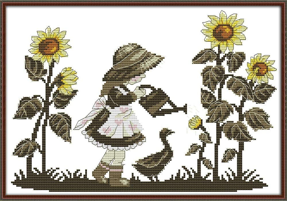 Big Red Poppy Flower 11CT 42/×42cm DIY Embroidery Needlework Kit with Easy Funny Preprinted Patterns Needlepoint Christmas Red YEESAM ART Cross Stitch Kits Stamped for Adults Beginner Kids