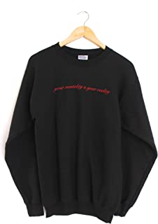 Era of Artists, LLC Your Mentality is Your Reality Black Graphic Crewneck Sweatshirt