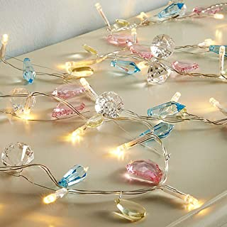 SunnyPark Colorful Novelty Diamond String Lights 30 LED Fairy Crystal Gem String Lights Battery Operated for Home Decoration, Party, Wedding with Timer (Pastel)