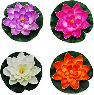 GOEGE Artificial Floating Foam Lotus Flower Pond Decor Water Lily with Stylus Set of 4 (Large(3.5