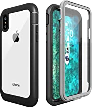 Gnais iPhone X Case,iPhone Xs Case, Built-in Screen Protector 360 Degree Full-Body Rugged Clear Bumper Case for iPhone X/iPhone Xs (Black)
