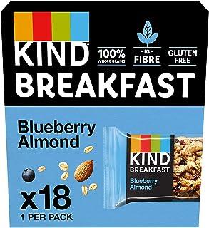 KIND Breakfast Cereal Bars, Healthy Gluten Free Snacks, Blueberry & Almond, 18 Bars