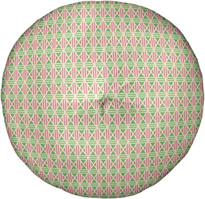 Amazon Com Artverse Katelyn Elizabeth Full Color Lined Diamonds Floor Pillow Round Tufted 30 X 30 Yellow Pink Green Home Kitchen