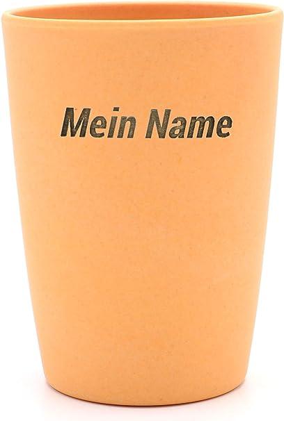 Jaune Gobelet Brosse /à Dents personnalis/é Portant Le nom 461 Magu Mug avec gobelet personnalis/é en Bambou Portant Le nom
