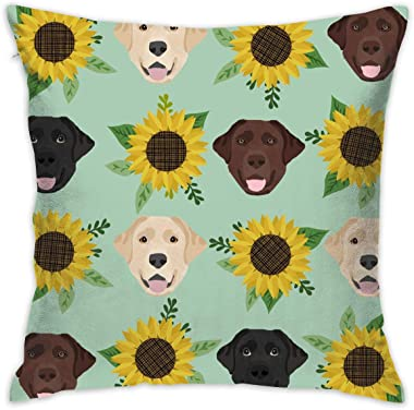 ONUPMIN Soft Polyester Labrador Floral Sunflower Dog Throw Pillow Cases Decorative Family Indoor Or Outdoor Cushion Cover 18
