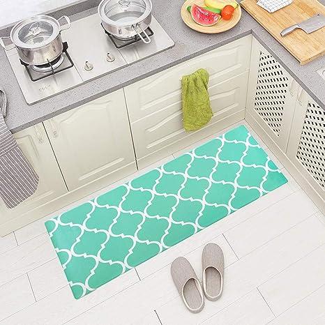 Amazon Com Carvapet Comfort Anti Fatigue Kitchen Standing Desk Mat Waterproof Decorative Ergonomic Floor Pad Kitchen Rug Moroccan Trellis Aqua 18 X47 Kitchen Dining