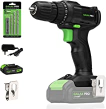 Cordless Drill Driver, GALAX PRO 20V Lithium Ion Power Drill with Work Light, Max Torque(20N.m), 3/8 inch Keyless Chuck, 19+1 Position, Single Speed (0-600RPM)- 1.3Ah Battery & Charger Included