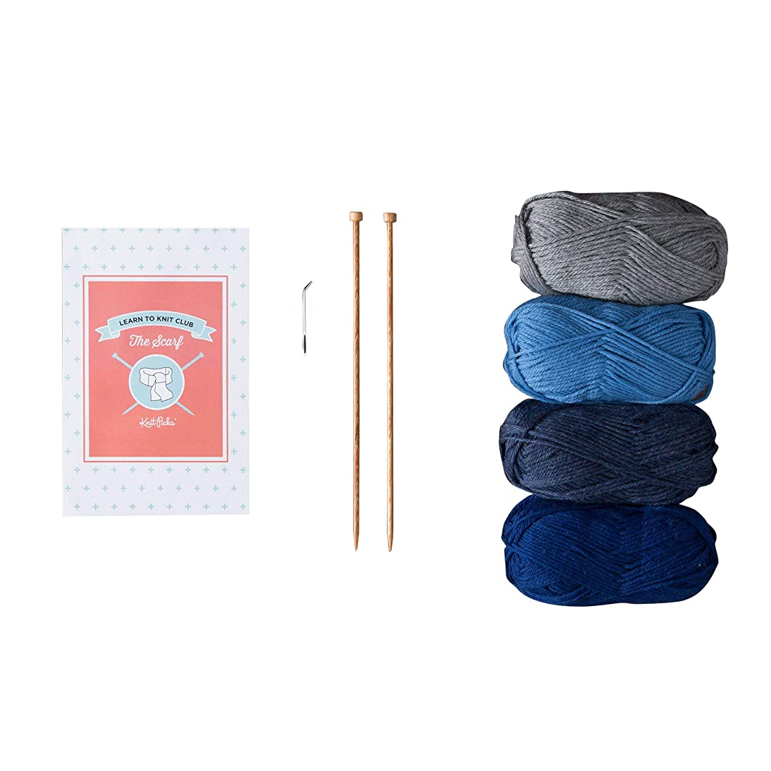 Knit Picks Learn to Knit Club: The Scarf - Beginner Knitting Kit (Blue)
