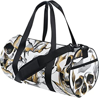 TFONE Flower Skull Day Of The Dead Duffel Bag Sports Gym Weekend Bags with Shoe Compartmen
