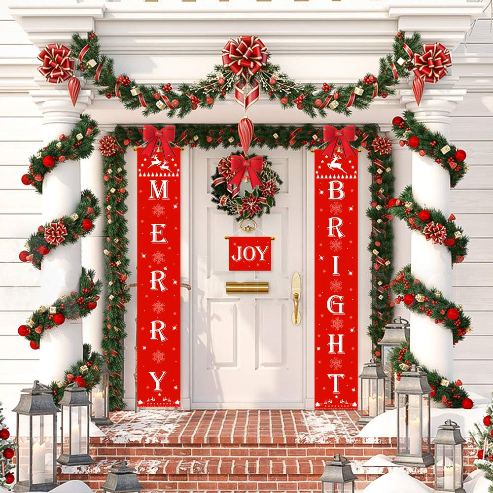 Christmas Banner Merry Bright Banner Front Porch Decorations Outdoor Indoor Christmas Merry Bright and Joy Porch Sign 4 Christmas Bow Bell